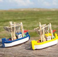 Fischkutter Kutter Schiffsmodell Modellschiff Rettungsring Maritim Deko Krabben
