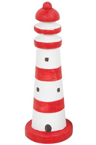 Deko Mini Leuchtturm rot weiß