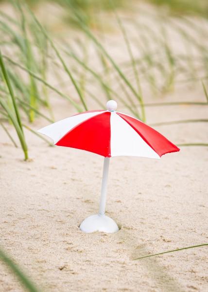 Deko Mini Sonnenschirm rot weiss