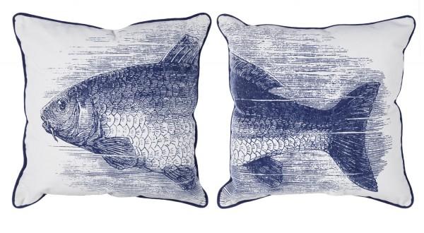 Kissenpaar Fischmotiv blau