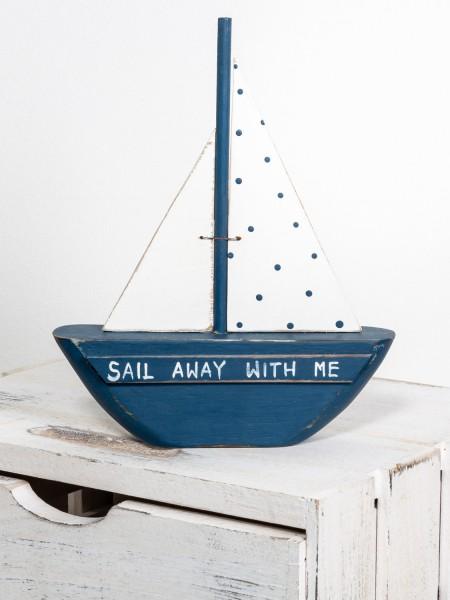 Segelschiff Deko blau weiß Kunsthandwerk