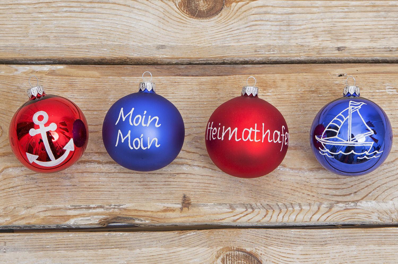 4 maritime christbaumkugeln rot blau christbaumschmuck deko nach themen maritim dekorieren - Christbaumschmuck leuchtturm ...