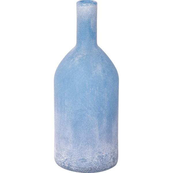 Hellblaue Glasflasche gefrostet