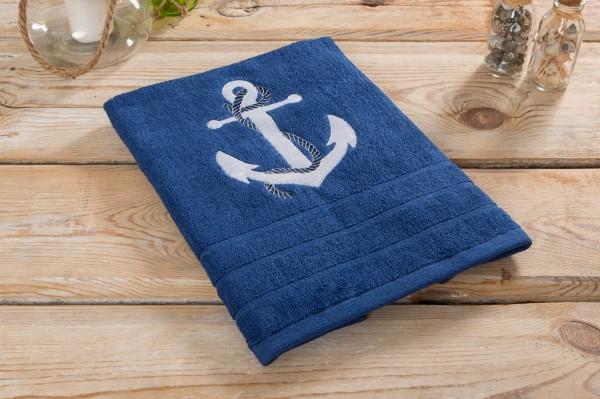 Handtuch Anker blau