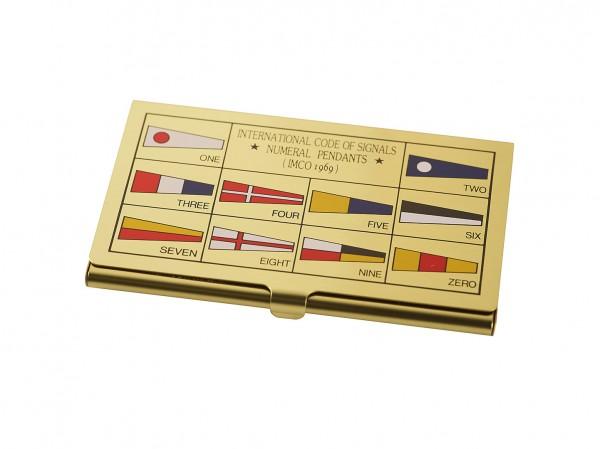 Visitenkartenbox, Messing, Flaggen