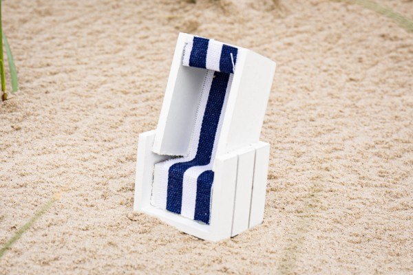 Strandkorb weiss blau, 12cm