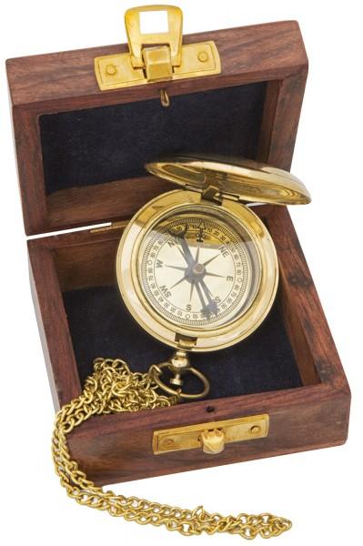 Kompass Taschenuhrform Messing