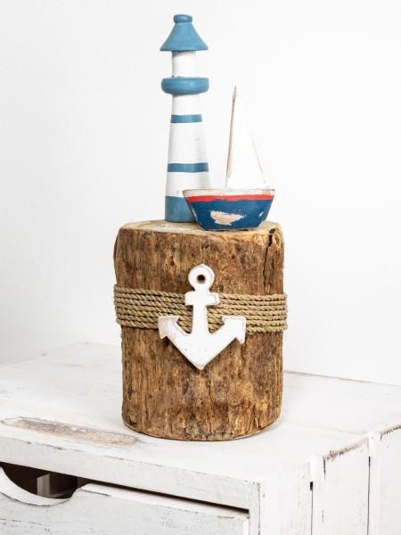 Leuchtturm Segelschiff Baumstumpf