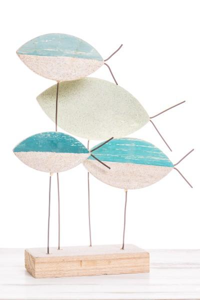 Skulptur Fische Deko weiß