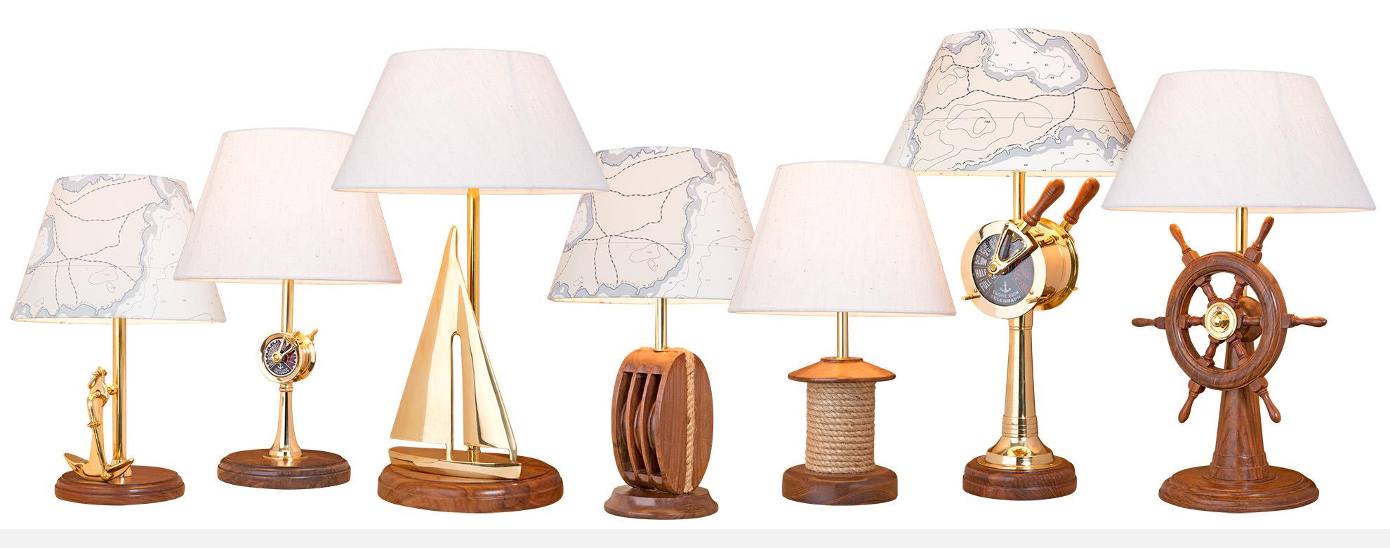 tischlampen und tischleuchten aus holz und messing im maritimen design mare me maritime. Black Bedroom Furniture Sets. Home Design Ideas