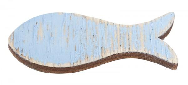 Holz Fische Deko hellblau