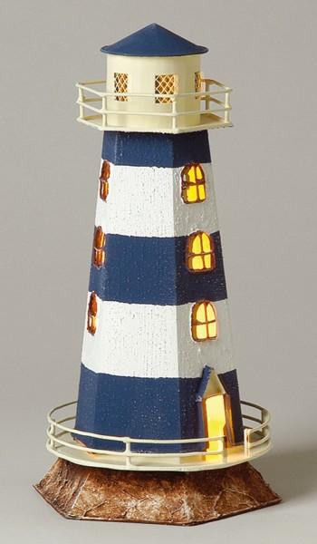 Eckiger Leuchtturm blau weiß