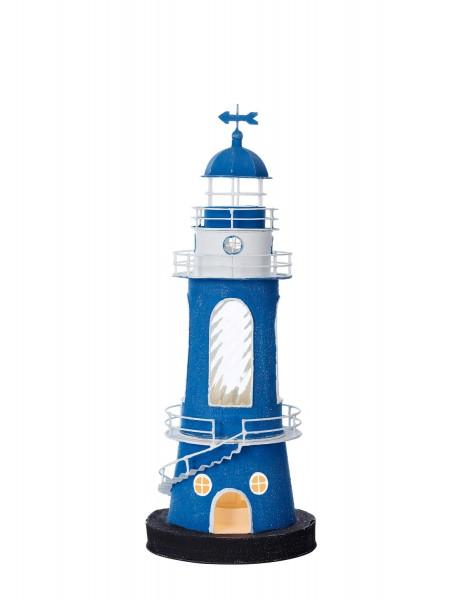 Blau weiß Leuchtturm rund