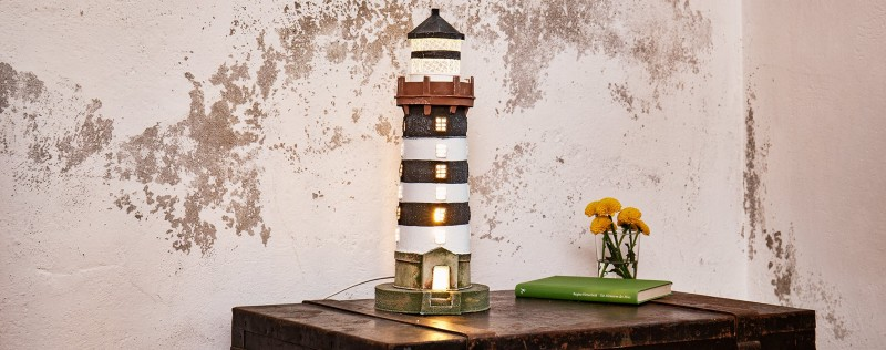 Teelichthalter Windlicht Keramik Leuchtturm Maritime Badezimmer Deko blau