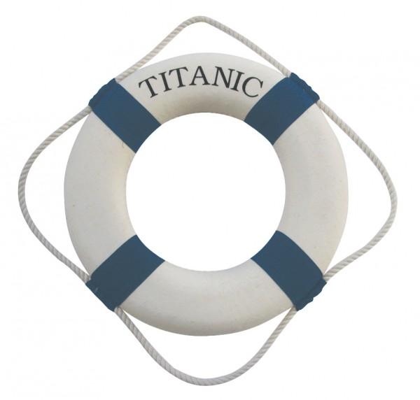 Rettungsring Titanic, blau-weiß