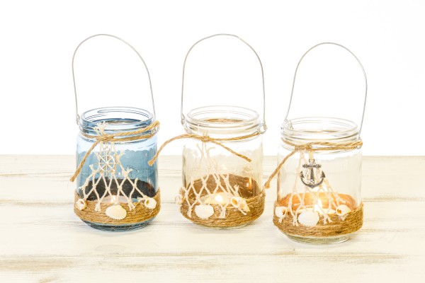 Glas Windlicht Maritim