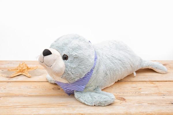 Großer Plüsch Seehund grau