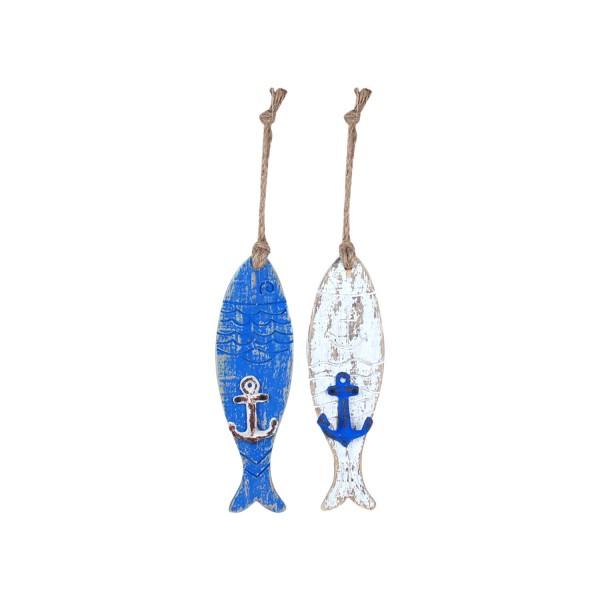 Deko Fisch blau und weiß