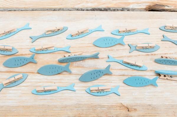 Tischkartenhalter Fische blau