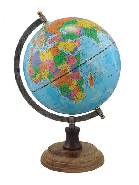Globus hellblau Ständer antik