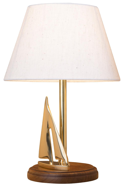 tischleuchte mit segelyacht klein leuchten holz messing maritime lampen maritim wohnen. Black Bedroom Furniture Sets. Home Design Ideas