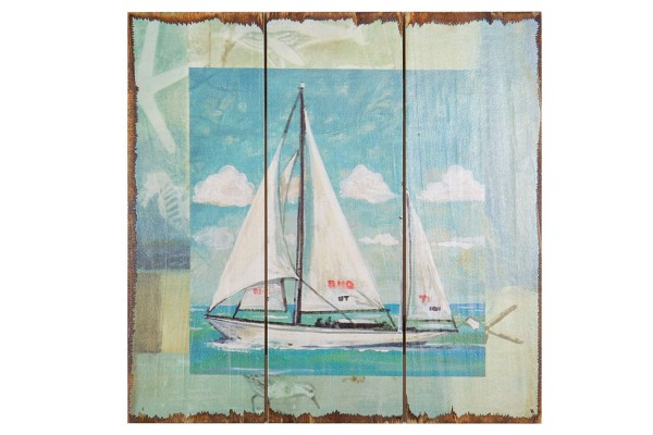 Wandbild Holz shabby Segelboote
