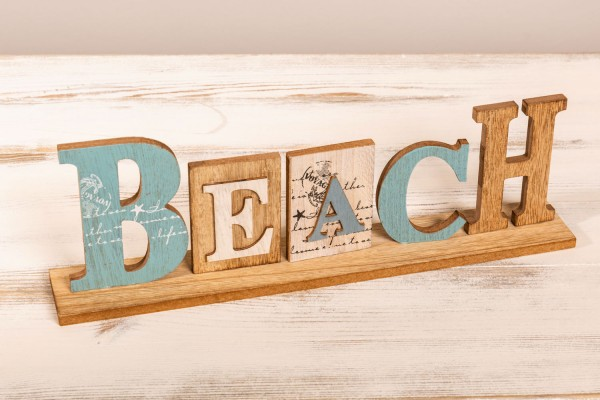 Holzschild Beach