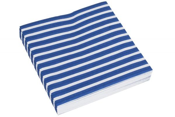 Serviette blau weiß gestreift, 20 Stk.