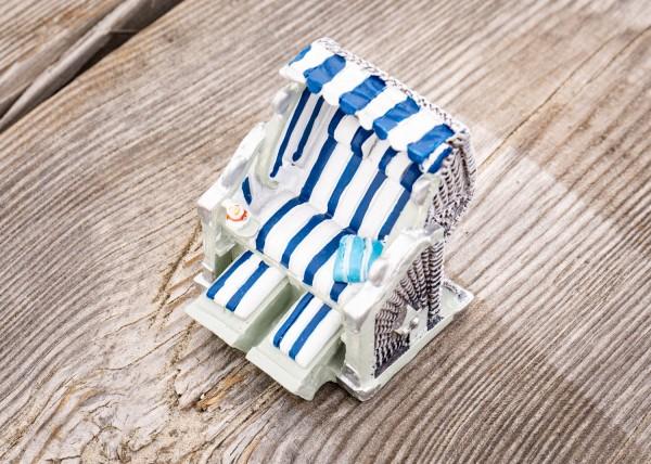 Deko Mini Strandkorb blau weiss