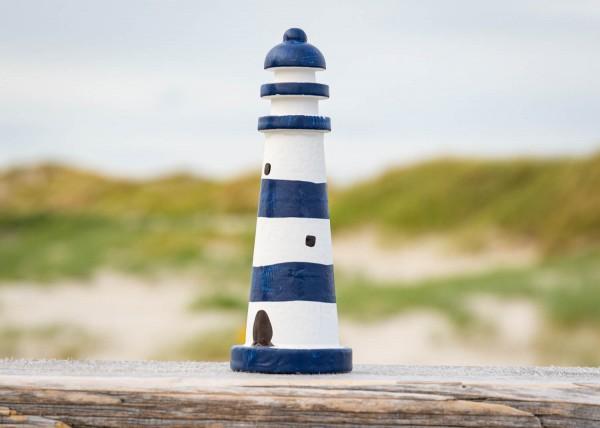 Mini Leuchtturm blau weiß