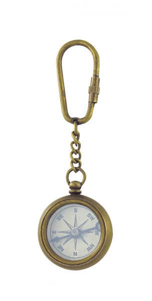 Schlüsselanhänger Kompass, Messing