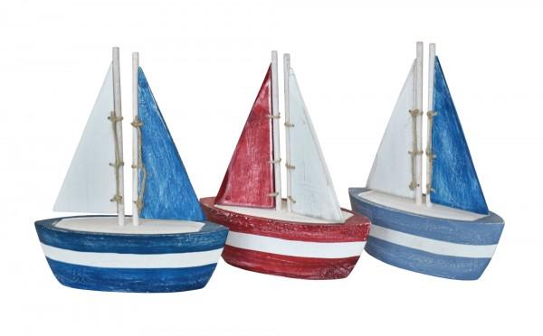 Bunte Segelboote blau rot weiß zur Deko