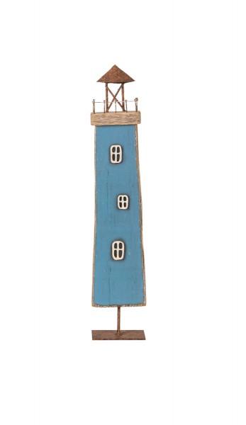 Blauer Deko Leuchtturm Holz Metall