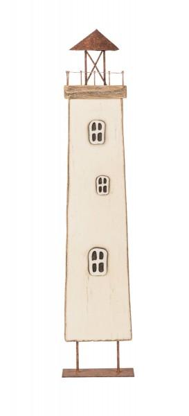 Weißer Leuchtturm Holz Deko