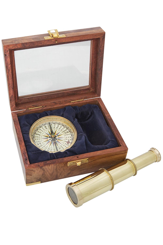 Kompass und teleskop in einer edlen holzbox online for Dekoration bestellen
