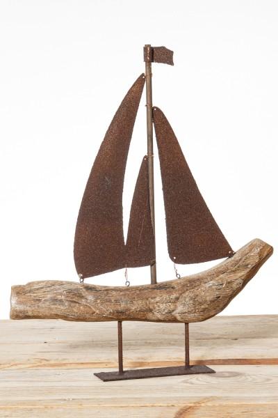 Segelboot Treibholz Metallsegel