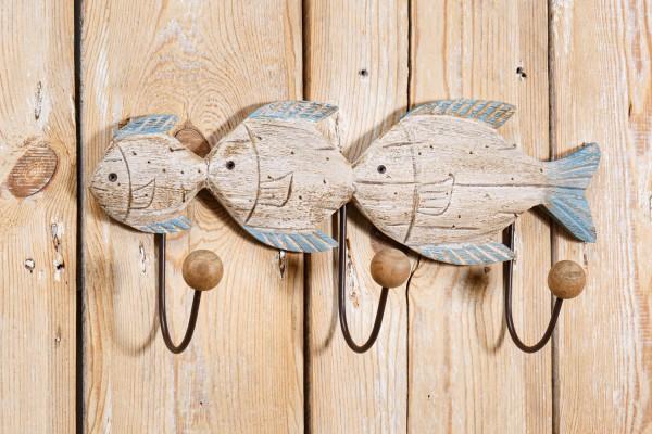 Hakenleiste Holz Fische