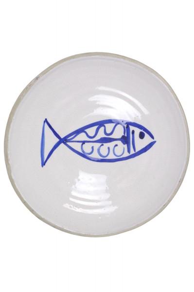Keramik Schale Weiß Blau Fisch