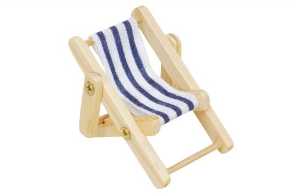 Miniliegestuhl, blau/weiss, 5cm