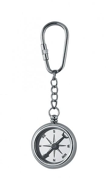 Schlüsselanhänger Kompass, Silberstyle