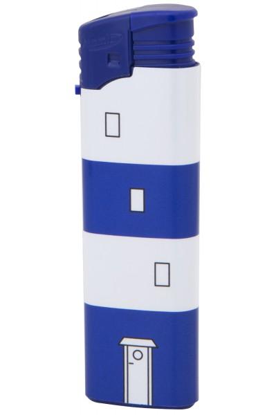 Leuchtturm Feuerzeug blau weiß