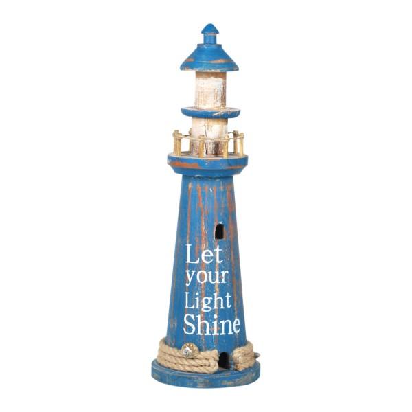 Deko Leuchtturm blau 39cm