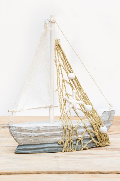 Großes Deko Segelboot, grau