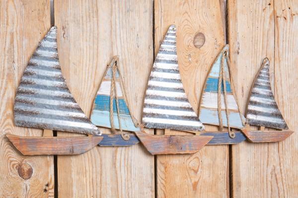 Wanddeko Segelboote Metall