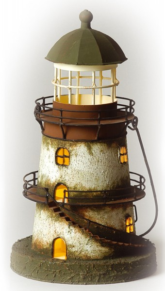 Dekoration Leuchtturm braun klein