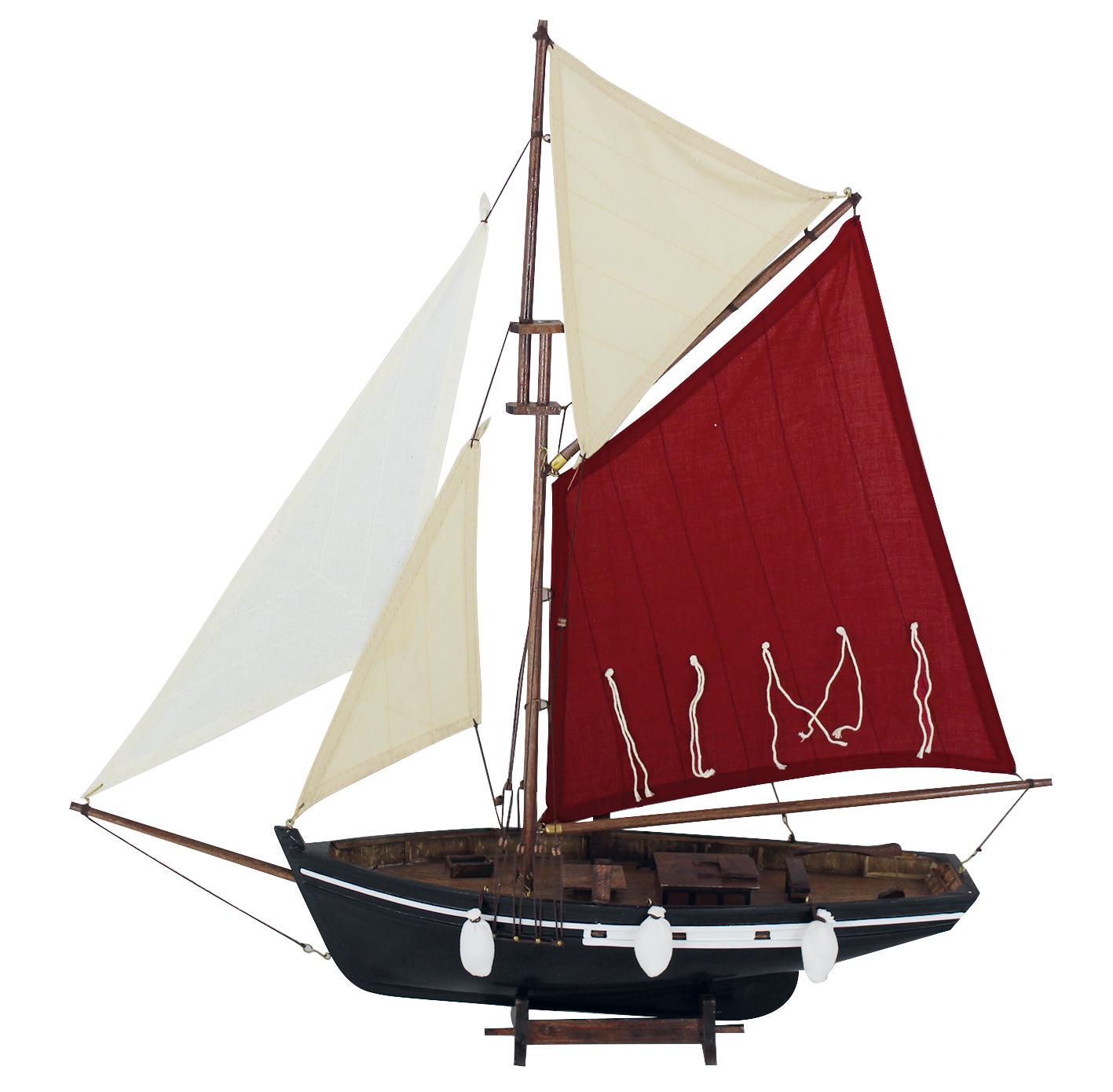 fischerboot rot wei segel fischerboote krabbenkutter deko schiffsmodelle maritim. Black Bedroom Furniture Sets. Home Design Ideas
