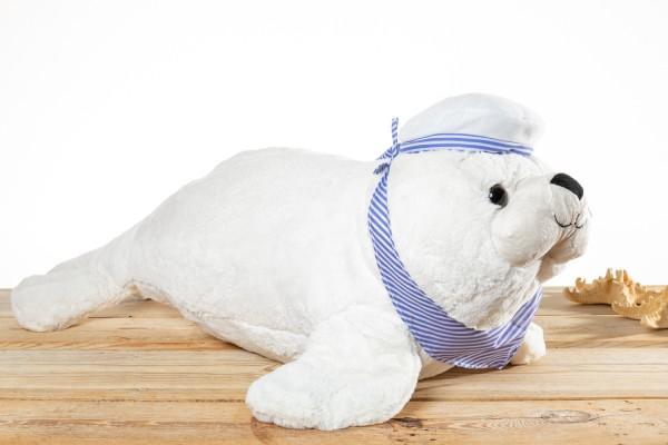 Seehund Plüsch weiß Mütze