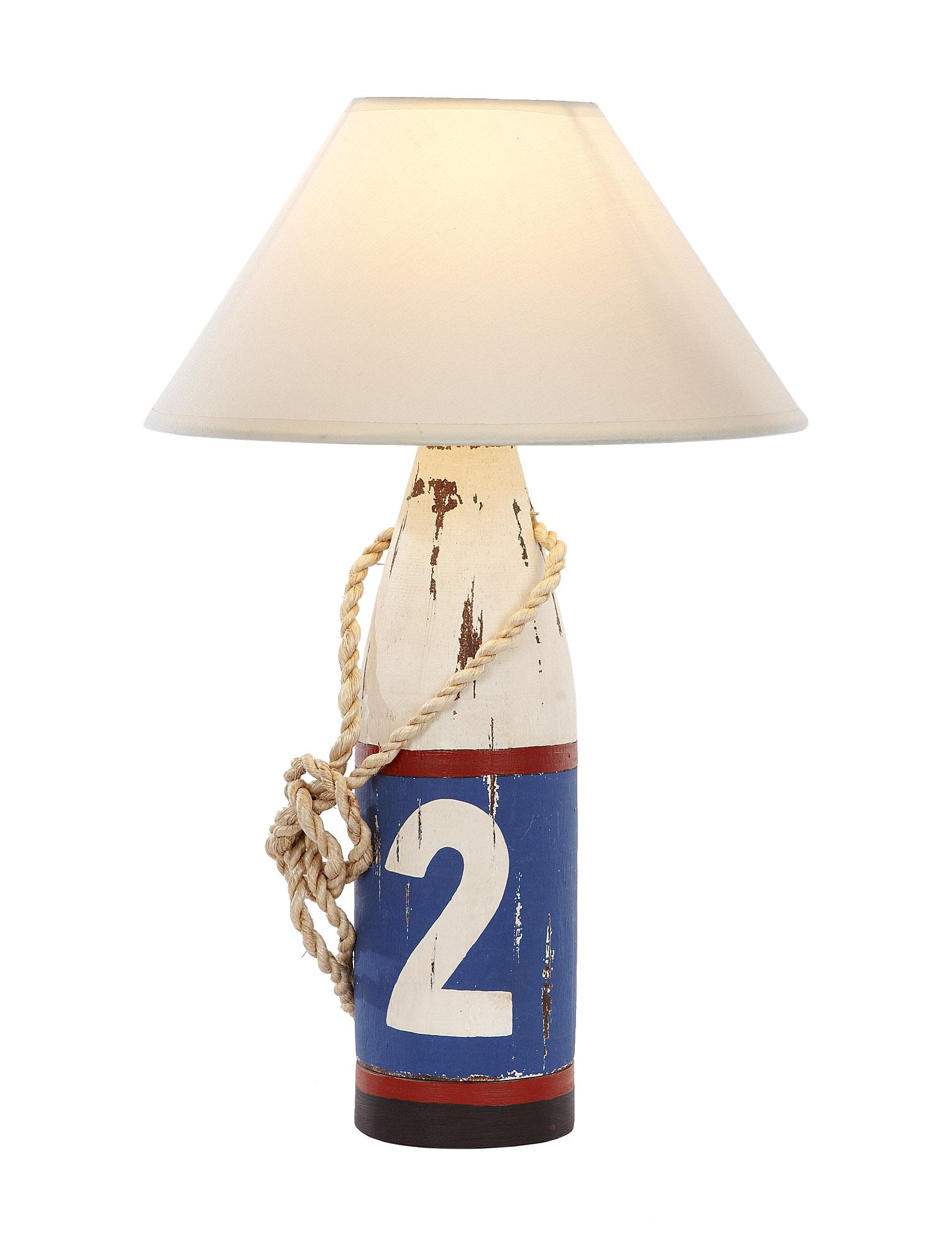 Lampe holzboje 2 wei blau rot bojenlampen maritime - Holzpaddel deko ...