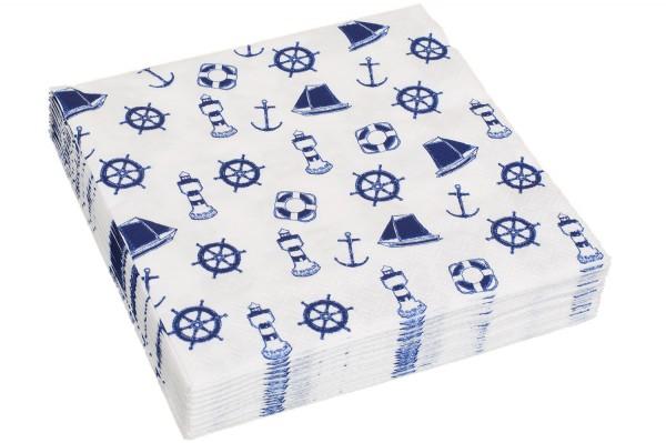 Serviette blau weiß Seemotive