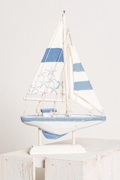 Kleines Deko Segelboot blau weiß